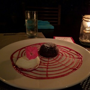 Chocolate molten lava cake with goat cheese icecream