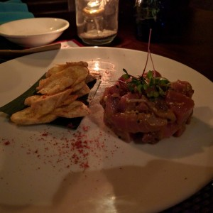 Tuna tartar with a side of green platain chips