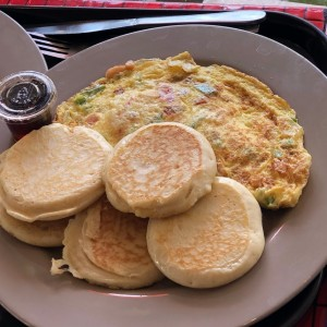 Omelet con pancakes
