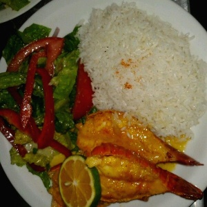 Lobster tails w rice and salad