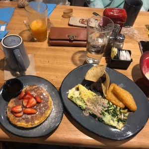 spinach omelet and pancakes