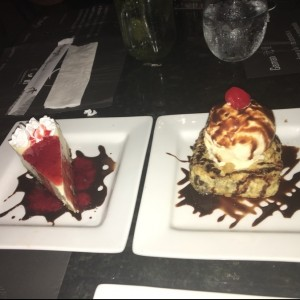 Postres - Cheese cake y Brownie Tempura