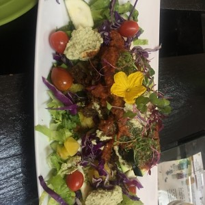 RAW SALAD!!! microgreens, edible flowers, vegan cheese