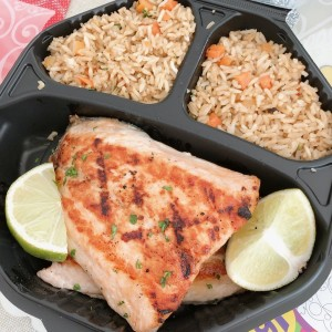 salmon grill con arroz integral