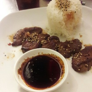 Filete Teriyaki con arroz Gonha
