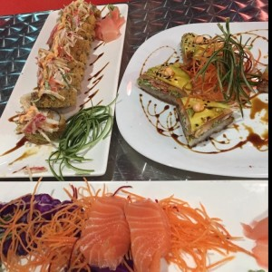 dragon roll, sushi pizza y sashimi de salmon