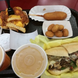 Corn dog, hot dog nuggets, philly cheese steak supreme