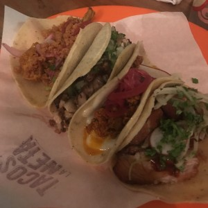 Tacos de Chorizo, Pork Belly, Cochinillo y Cochinita Pibil