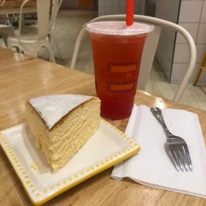 Japanese Cheese cake and Bubble Tea.