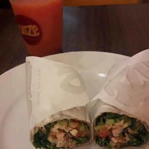 Wrao chicken blt y licuado de papaya!!!