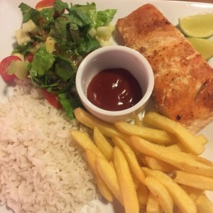 Grilled Salmon with Rice/Salad and Fries