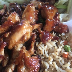 Chicken Teriyaki with Fried Rice and steamed vegetables.