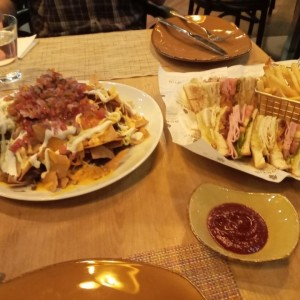 club sandwich and brisket nachos