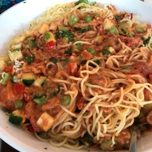 capellini con five cheese marinara and garden veggies