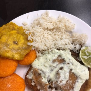 Filete de pescado con patacones, tortillas y arroz