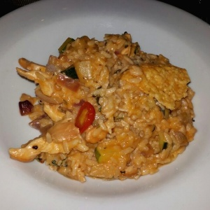 Risotto de vegetales y pollo