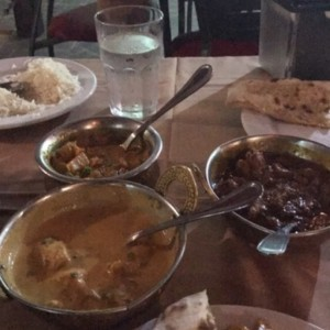 Butter Chicken, Vegetales Kurma, Mutton Curry, Naan and Basmati Rice