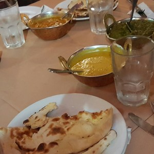 Naan, Daal, Veg masala and spinach chicken