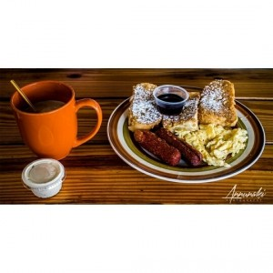French Toast platter and Hot Chocolate