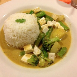Curry con vegetales-tofu y arroz jazmine