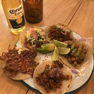 tacos. cochinita pibil, costra de queso, pollo y carnitas