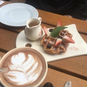 Belgian Waffle with Hot Chocolate