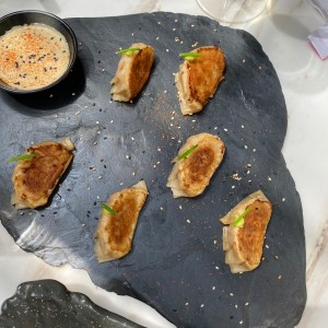 shrimp gyozas