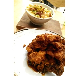 Korean Fried Chicken y Mac & Cheese