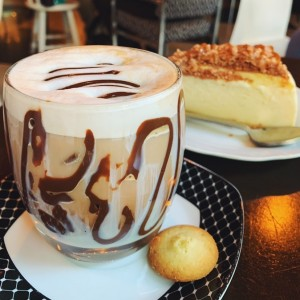 Mocha Iced Coffee + Caramel Cinnamon Cheesecake