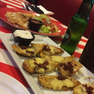Loaded Potato Skins & Chicken quesadillas