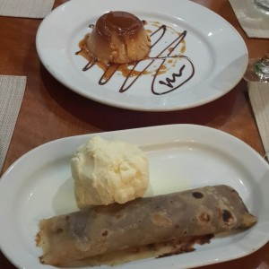 Crepe de chocolate de avellanas y quesillo de coco